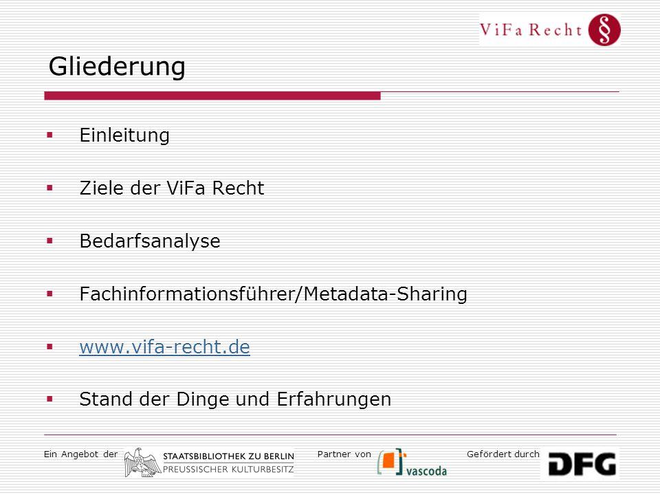 Ein Angebot derGefördert durchPartner von Gliederung  Einleitung  Ziele der ViFa Recht  Bedarfsanalyse  Fachinformationsführer/Metadata-Sharing  www.vifa-recht.de www.vifa-recht.de  Stand der Dinge und Erfahrungen