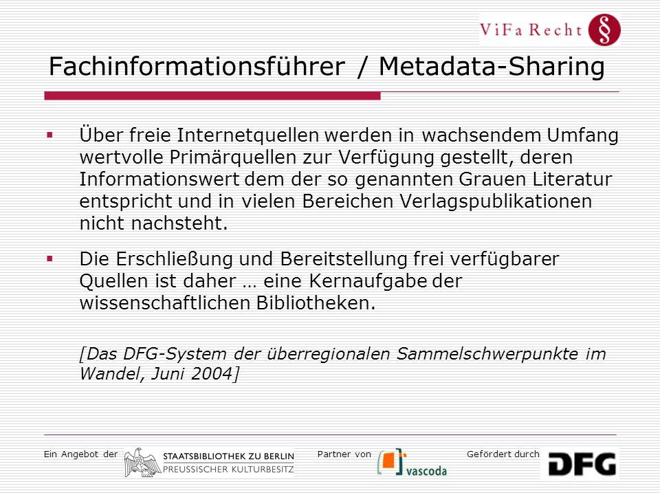 Ein Angebot derGefördert durchPartner von Fachinformationsführer / Metadata-Sharing  Über freie Internetquellen werden in wachsendem Umfang wertvolle