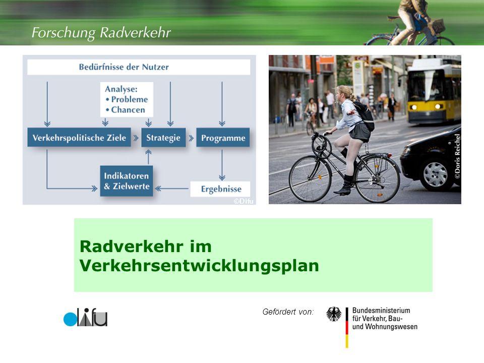 Radverkehr im Verkehrsentwicklungsplan Gefördert von:
