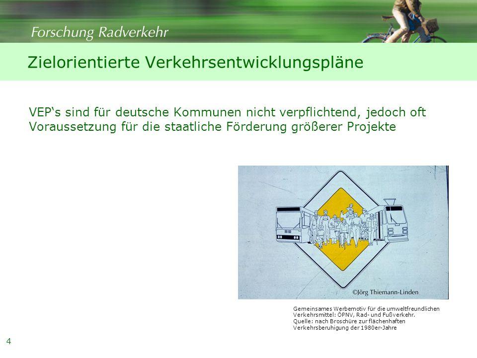 Zielorientierte Verkehrsentwicklungspläne VEP's sind für deutsche Kommunen nicht verpflichtend, jedoch oft Voraussetzung für die staatliche Förderung größerer Projekte Gemeinsames Werbemotiv für die umweltfreundlichen Verkehrsmittel: ÖPNV, Rad- und Fußverkehr.