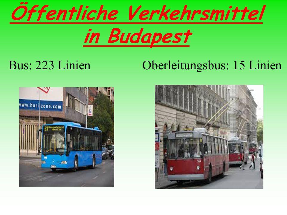 Öffentliche Verkehrsmittel in Budapest Bus: 223 LinienOberleitungsbus: 15 Linien