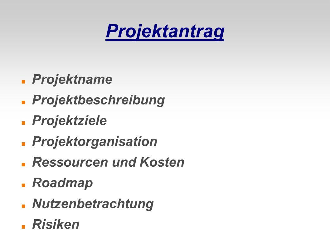Projektantrag Projektname Projektbeschreibung Projektziele Projektorganisation Ressourcen und Kosten Roadmap Nutzenbetrachtung Risiken