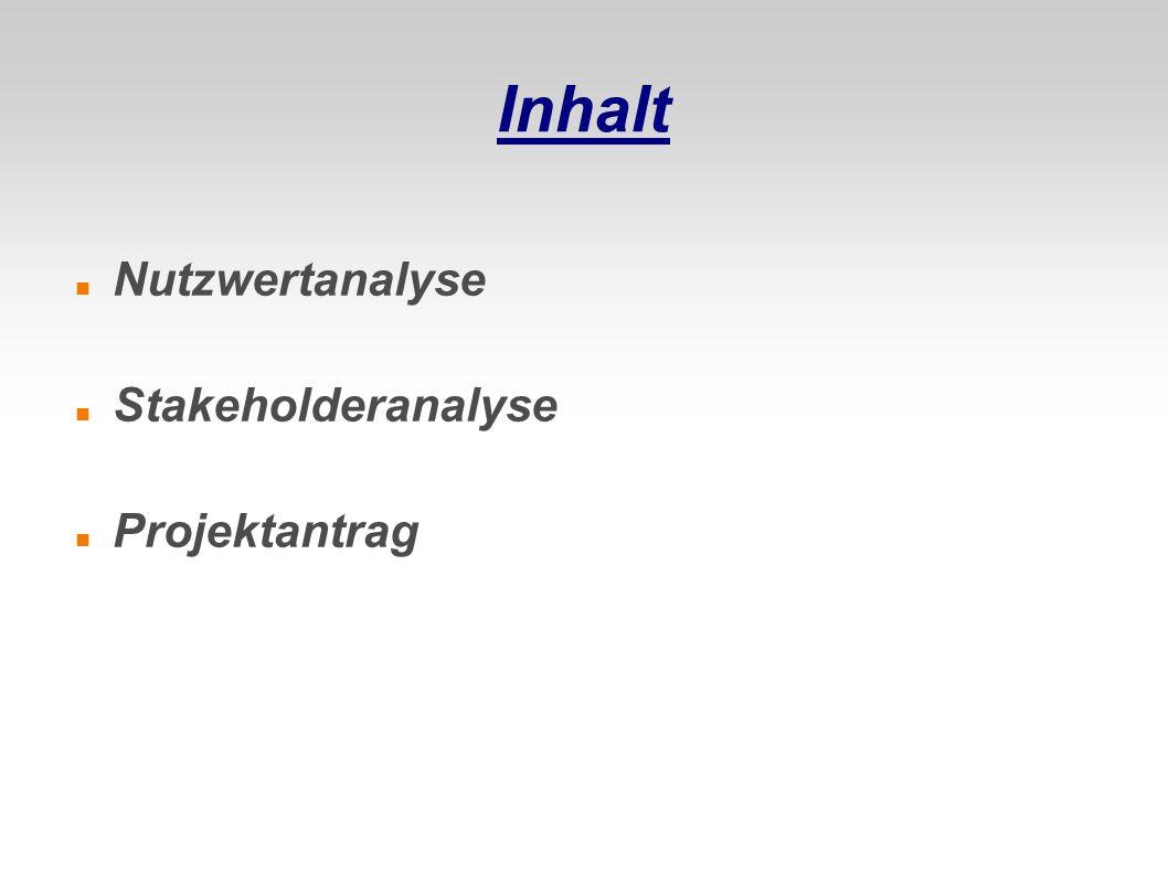 Inhalt Nutzwertanalyse Stakeholderanalyse Projektantrag