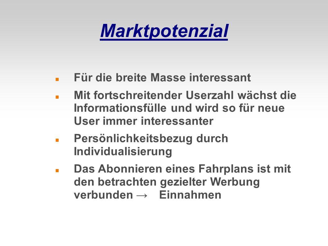 Marktpotenzial Für die breite Masse interessant Mit fortschreitender Userzahl wächst die Informationsfülle und wird so für neue User immer interessant