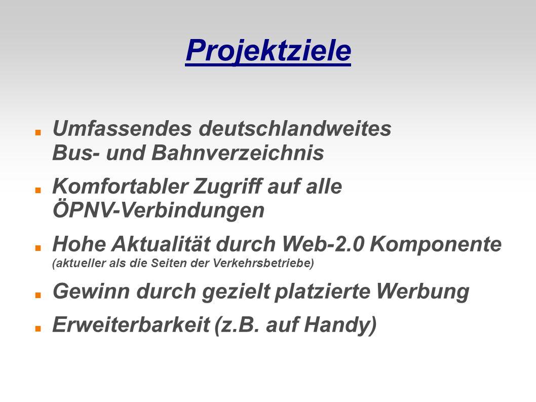 Projektziele Umfassendes deutschlandweites Bus- und Bahnverzeichnis Komfortabler Zugriff auf alle ÖPNV-Verbindungen Hohe Aktualität durch Web-2.0 Komp