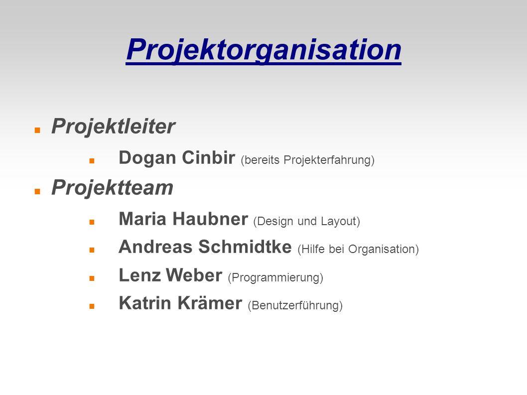 Projektorganisation Projektleiter Dogan Cinbir (bereits Projekterfahrung) Projektteam Maria Haubner (Design und Layout) Andreas Schmidtke (Hilfe bei O