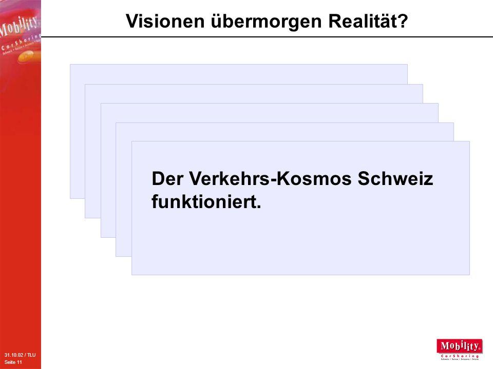 31.10.02 / TLU Seite 11 Visionen übermorgen Realität? Jeder Mobilitätsanbieter kann die gesamte Palette der Verkehrs- mittel verkaufen. Die Verkehrste