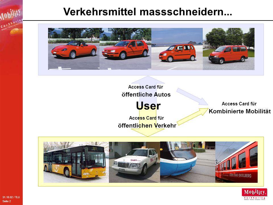 31.10.02 / TLU Seite 2 Access Card für öffentlichen Verkehr Verkehrsmittel massschneidern... Access Card für öffentliche Autos User Access Card für Ko