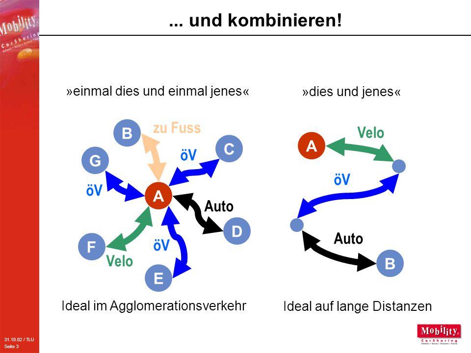 31.10.02 / TLU Seite 3... und kombinieren! F E G B C D A öV Velo Auto zu Fuss »einmal dies und einmal jenes« Ideal im Agglomerationsverkehr öV Velo Au