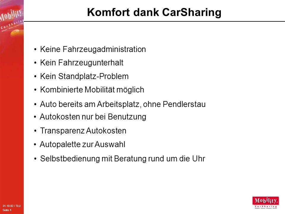 31.10.02 / TLU Seite 4 Komfort dank CarSharing Keine Fahrzeugadministration Kein Fahrzeugunterhalt Kein Standplatz-Problem Kombinierte Mobilität mögli