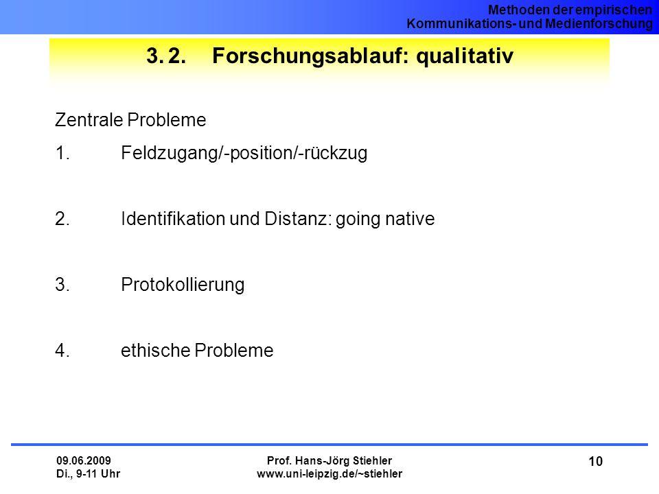 Methoden der empirischen Kommunikations- und Medienforschung 09.06.2009 Di., 9-11 Uhr Prof. Hans-Jörg Stiehler www.uni-leipzig.de/~stiehler 10 3.2.For