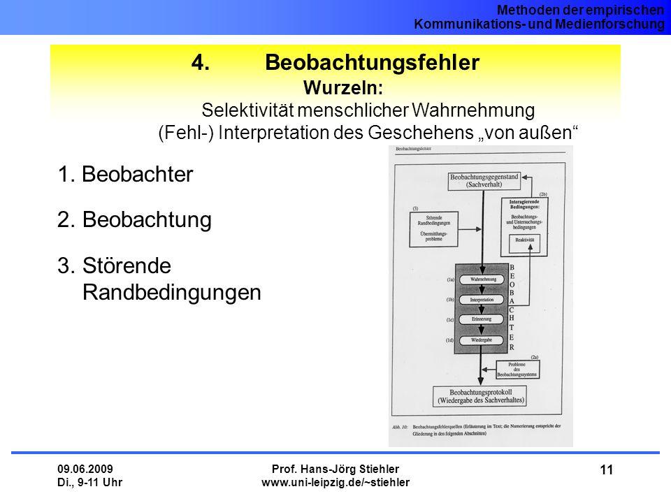 Methoden der empirischen Kommunikations- und Medienforschung 09.06.2009 Di., 9-11 Uhr Prof. Hans-Jörg Stiehler www.uni-leipzig.de/~stiehler 11 4. Beob