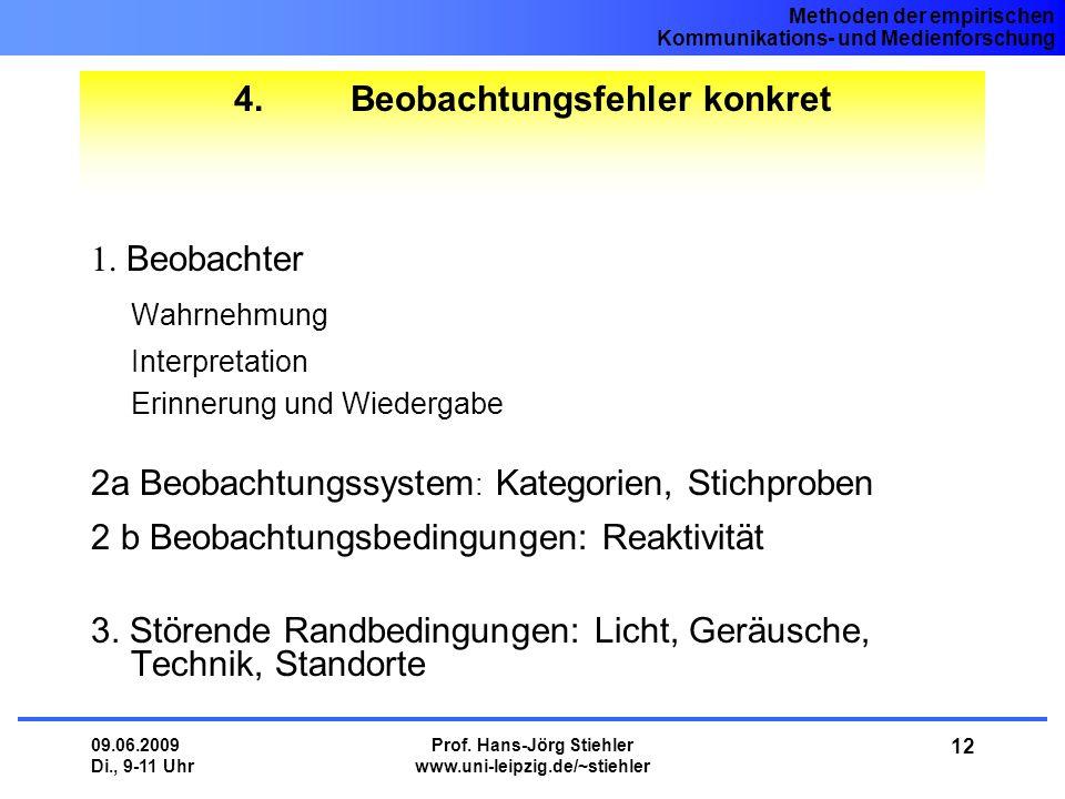 Methoden der empirischen Kommunikations- und Medienforschung 09.06.2009 Di., 9-11 Uhr Prof. Hans-Jörg Stiehler www.uni-leipzig.de/~stiehler 12 4. Beob