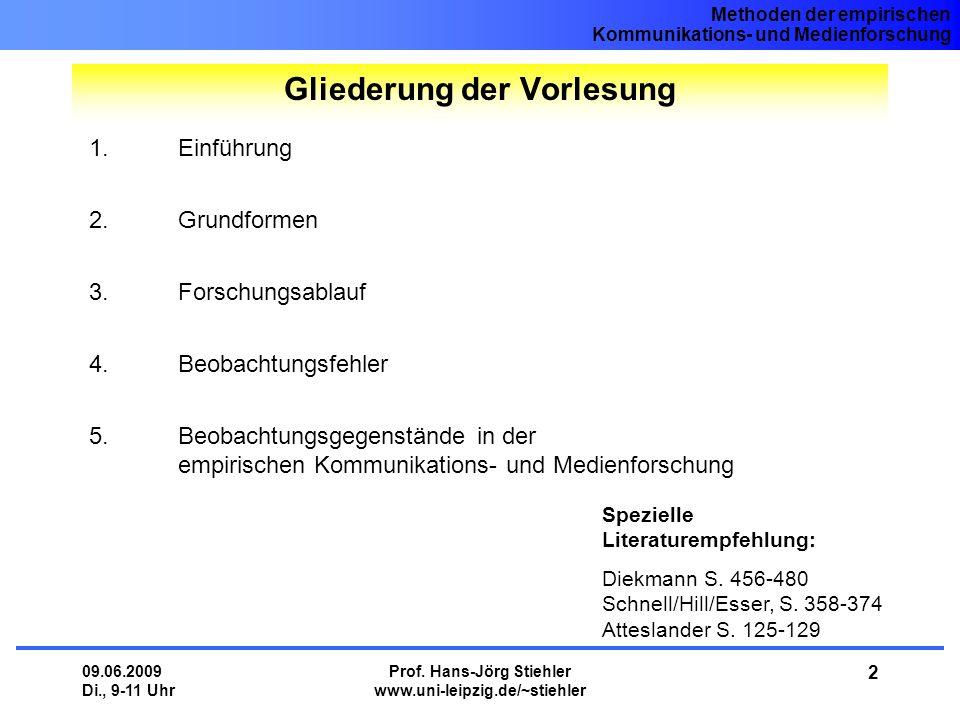Methoden der empirischen Kommunikations- und Medienforschung 09.06.2009 Di., 9-11 Uhr Prof. Hans-Jörg Stiehler www.uni-leipzig.de/~stiehler 2 1.Einfüh