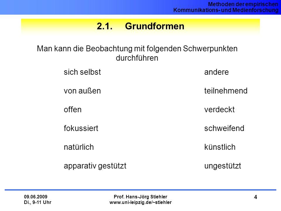 Methoden der empirischen Kommunikations- und Medienforschung 09.06.2009 Di., 9-11 Uhr Prof. Hans-Jörg Stiehler www.uni-leipzig.de/~stiehler 4 2.1. Gru