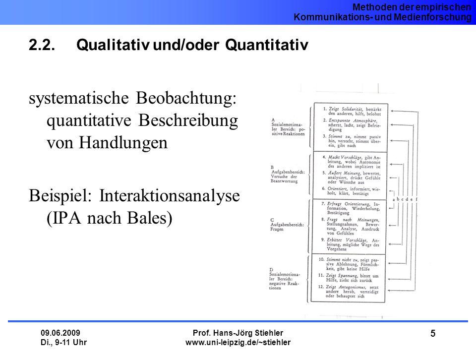 Methoden der empirischen Kommunikations- und Medienforschung 09.06.2009 Di., 9-11 Uhr Prof. Hans-Jörg Stiehler www.uni-leipzig.de/~stiehler 5 2.2.Qual