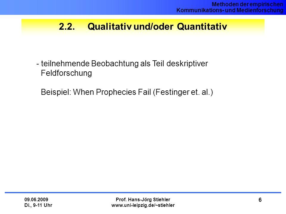 Methoden der empirischen Kommunikations- und Medienforschung 09.06.2009 Di., 9-11 Uhr Prof. Hans-Jörg Stiehler www.uni-leipzig.de/~stiehler 6 2.2.Qual