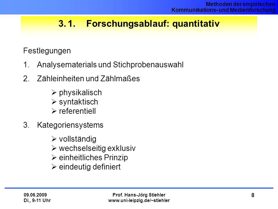 Methoden der empirischen Kommunikations- und Medienforschung 09.06.2009 Di., 9-11 Uhr Prof. Hans-Jörg Stiehler www.uni-leipzig.de/~stiehler 8 3.1.Fors