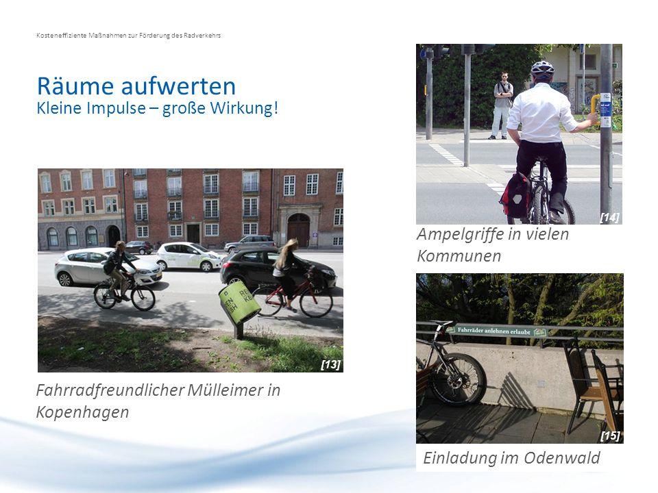 Räume aufwerten Kosteneffiziente Maßnahmen zur Förderung des Radverkehrs Kleine Impulse – große Wirkung! Fahrradfreundlicher Mülleimer in Kopenhagen E