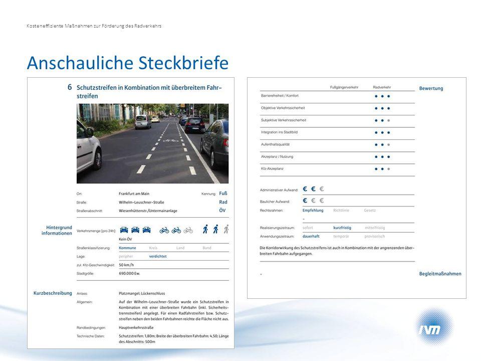 Anschauliche Steckbriefe Kosteneffiziente Maßnahmen zur Förderung des Radverkehrs