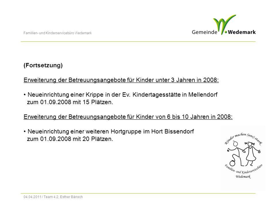 Familien- und Kinderservicebüro Wedemark 04.04.2011 / Team 4.2, Esther Bänsch (Fortsetzung) Erweiterung der Betreuungsangebote für Kinder unter 3 Jahren in 2008: Neueinrichtung einer Krippe in der Ev.