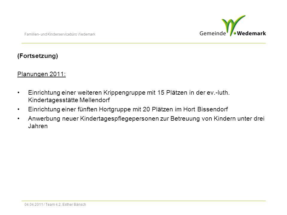 Familien- und Kinderservicebüro Wedemark 04.04.2011 / Team 4.2, Esther Bänsch (Fortsetzung) Planungen 2011: Einrichtung einer weiteren Krippengruppe mit 15 Plätzen in der ev.-luth.