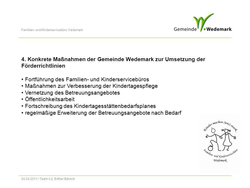 """Familien- und Kinderservicebüro Wedemark 04.04.2011 / Team 4.2, Esther Bänsch 4.4 Öffentlichkeitsarbeit Bereits im Jahr 2007 wurde die Broschüre """"Die Kindertagesstätten stellen sich vor herausgegeben."""