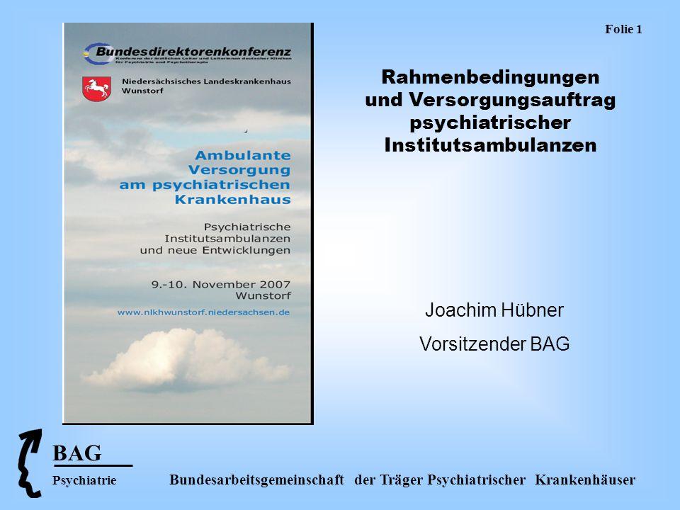 BAG Psychiatrie Bundesarbeitsgemeinschaft der Träger Psychiatrischer Krankenhäuser Folie 12 Zusammenfassung Institutsambulanzen sind unverzichtbarer Bestandteil des psychiatrischen Versorgungssystems.