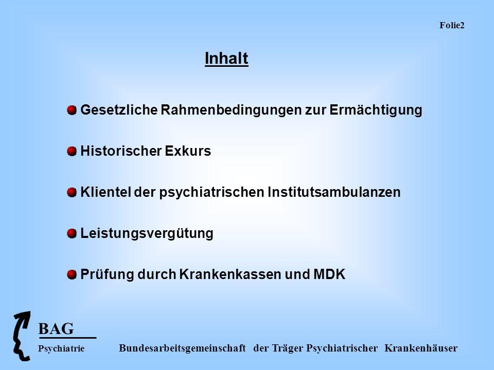 BAG Psychiatrie Bundesarbeitsgemeinschaft der Träger Psychiatrischer Krankenhäuser Folie 3 Ermächtigung zur ambulanten psychiatrischen und psychotherapeutischen Behandlung FachkrankenhäuserAbteilungen an Allgemeinkrankenhäusern Per Verwaltungsakt des Zulassungsaus- schusses der Kassenärztlichen Vereinigung (§ 118 Abs.