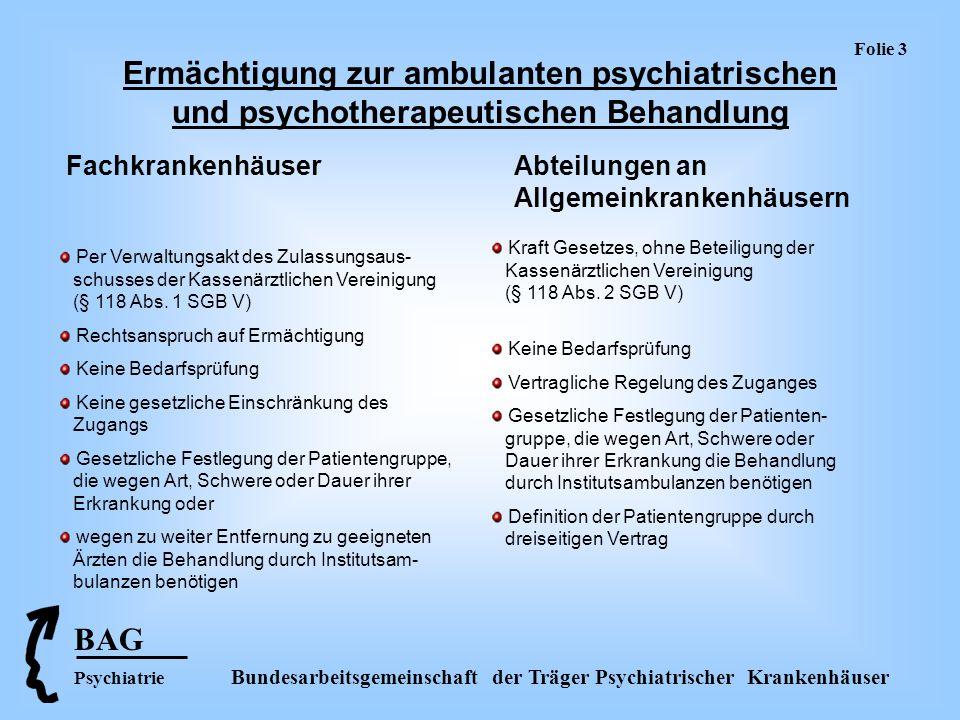 BAG Psychiatrie Bundesarbeitsgemeinschaft der Träger Psychiatrischer Krankenhäuser Folie 4 Strukturqualität Fachkrankenhäuser Abteilungen an Allgemeinkrankenhäusern gesetzliche Vorgabe: Die für die ambulante psychiatrische und psychotherapeutische Behandlung erforderlichen Ärzte und nichtärztlichen Fachkräfte und die notwendigen Einrichtungen müssen vom Träger bei Bedarf zur Verfügung gestellt werden.