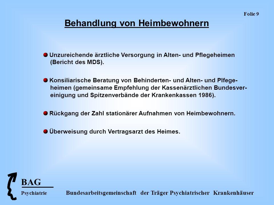 Folie 10 BAG Psychiatrie Bundesarbeitsgemeinschaft der Träger Psychiatrischer Krankenhäuser Vergütung psychiatrischer Institutsambulanzen (§ 120 SGB V) Unmittelbare Vergütung durch Krankenkassen.