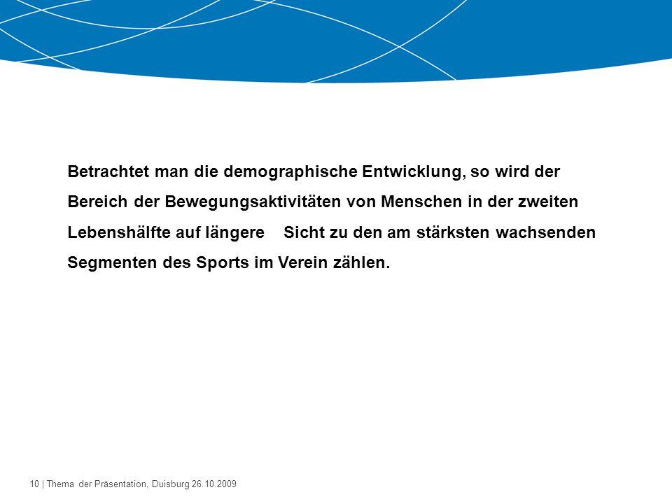 """11   Thema der Präsentation, Duisburg 26.10.2009 Mitgliederentwicklung im Landessportbund NRW Quelle: Mitgliederstatistik des LandesSportBundes Nordrhein-Westfalen / Fachbereich """"Ältere 2005"""