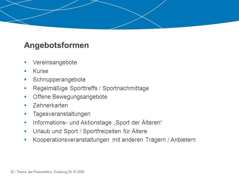 23   Thema der Präsentation, Duisburg 26.10.2009 Was hat der Verein davon.