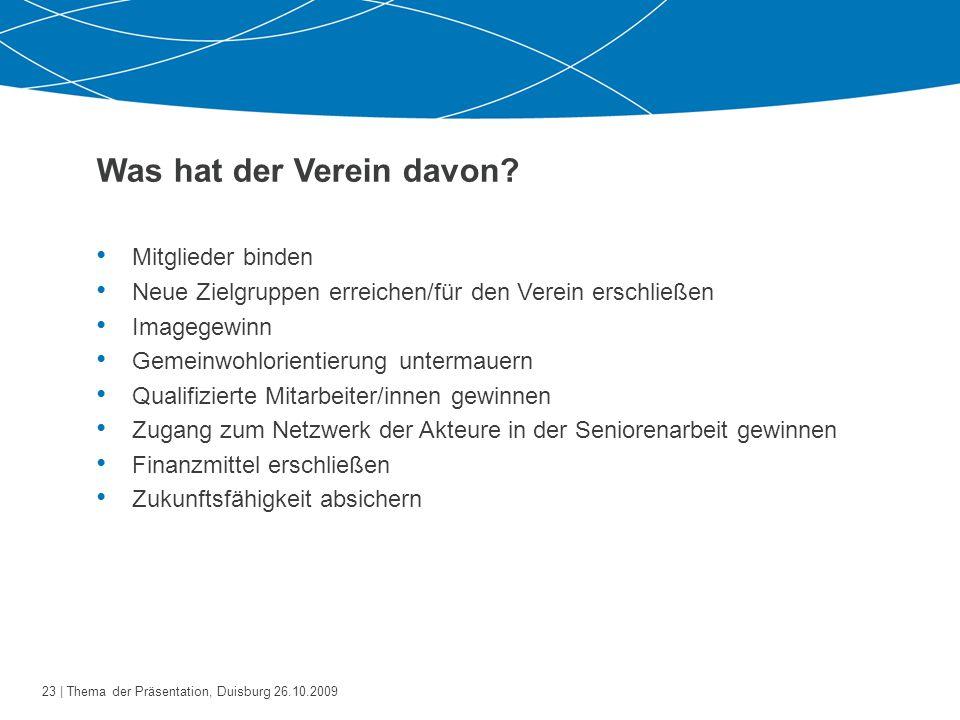24   Thema der Präsentation, Duisburg 26.10.2009 Was muss der Verein einbringen.