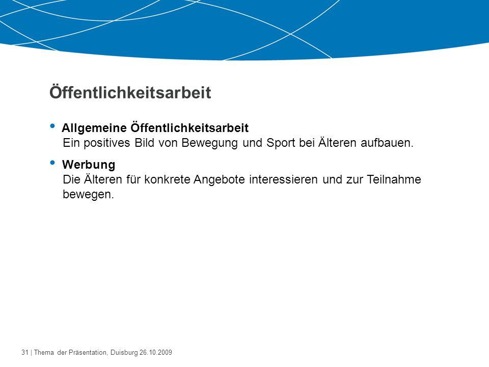 32   Thema der Präsentation, Duisburg 26.10.2009 Werbung (I)  Handzettel, Plakate Gutscheine (z.B.