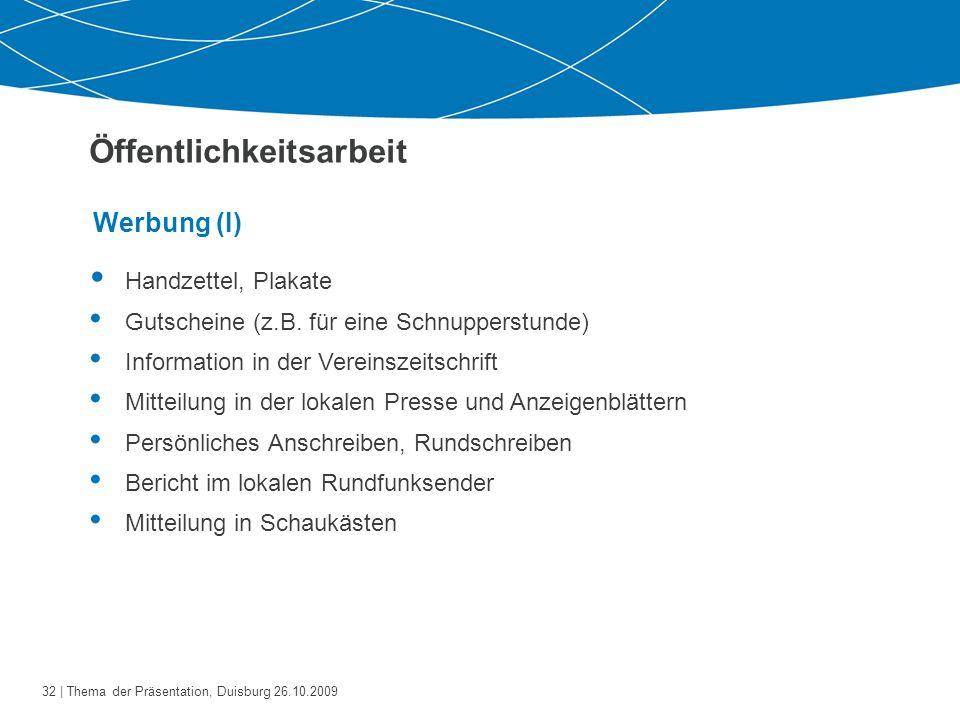 33   Thema der Präsentation, Duisburg 26.10.2009 Werbung (II) Öffentlichkeitsarbeit  Mund-zu-Mund - Werbung Informationsveranstaltungen (z.B.
