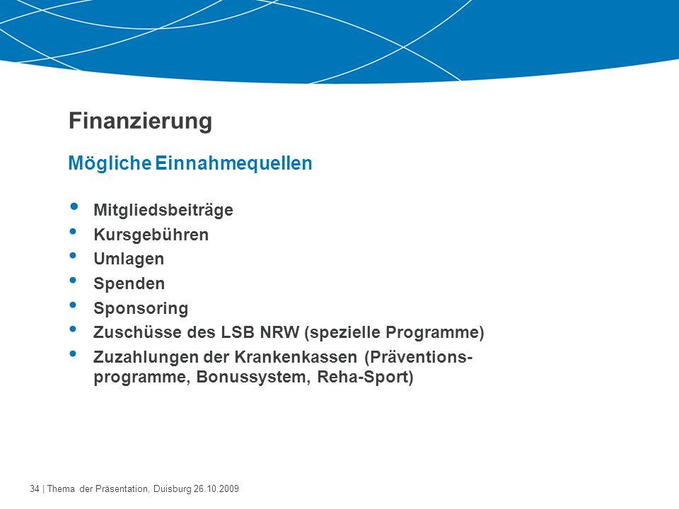 35   Thema der Präsentation, Duisburg 26.10.2009 Beispiel: Präventive Wirbelsäulengymnastik, 10 UE à 60 Min.