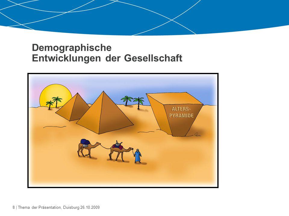 9   Thema der Präsentation, Duisburg 26.10.2009 Demographische Entwicklungen der Gesellschaft