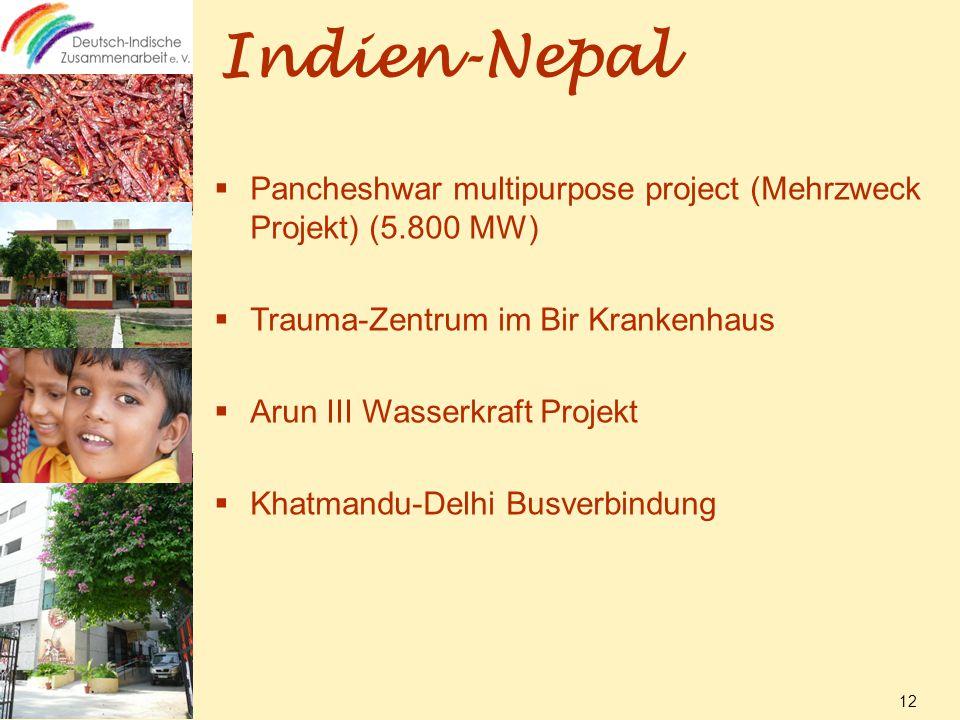 Indien-Nepal  Pancheshwar multipurpose project (Mehrzweck Projekt) (5.800 MW)  Trauma-Zentrum im Bir Krankenhaus  Arun III Wasserkraft Projekt  Khatmandu-Delhi Busverbindung 12