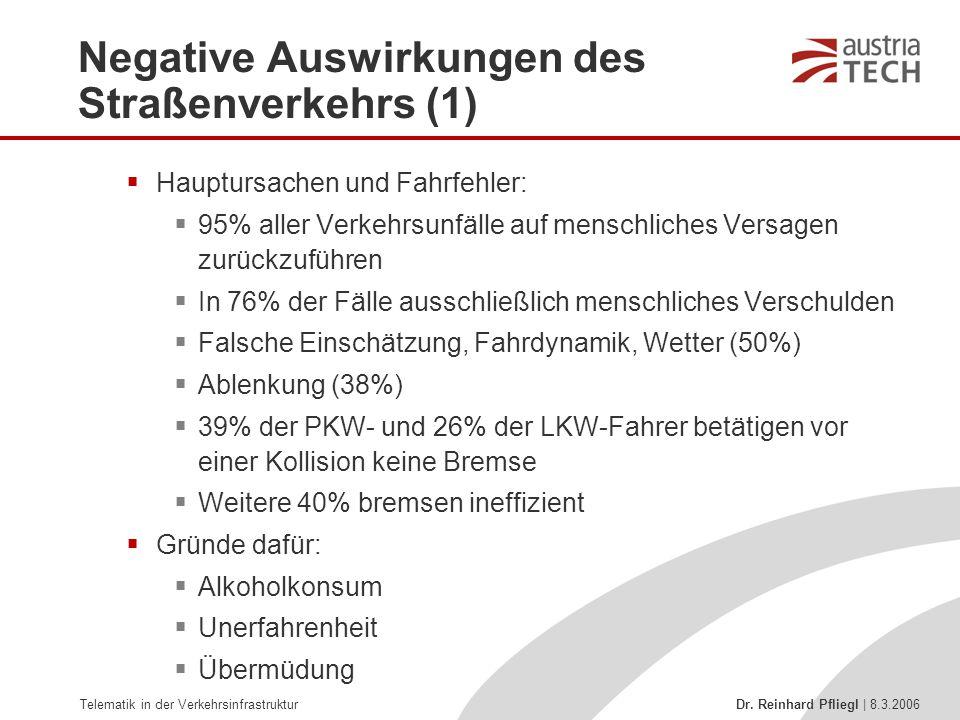 Telematik in der Verkehrsinfrastruktur Dr. Reinhard Pfliegl | 8.3.2006 Negative Auswirkungen des Straßenverkehrs (1)  Hauptursachen und Fahrfehler: 