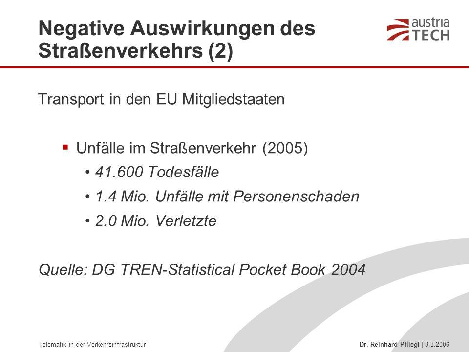 Telematik in der Verkehrsinfrastruktur Dr. Reinhard Pfliegl | 8.3.2006 Negative Auswirkungen des Straßenverkehrs (2) Transport in den EU Mitgliedstaat