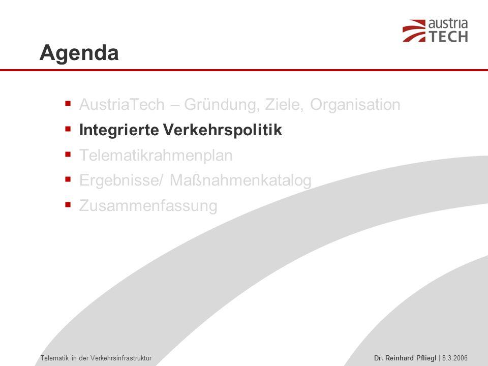 Telematik in der Verkehrsinfrastruktur Dr. Reinhard Pfliegl | 8.3.2006  AustriaTech – Gründung, Ziele, Organisation  Integrierte Verkehrspolitik  T