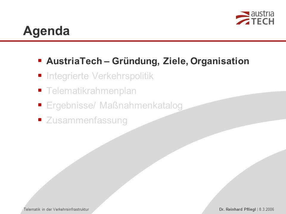 Telematik in der Verkehrsinfrastruktur Dr.Reinhard Pfliegl   8.3.2006 AustriaTech Gründung: 29.