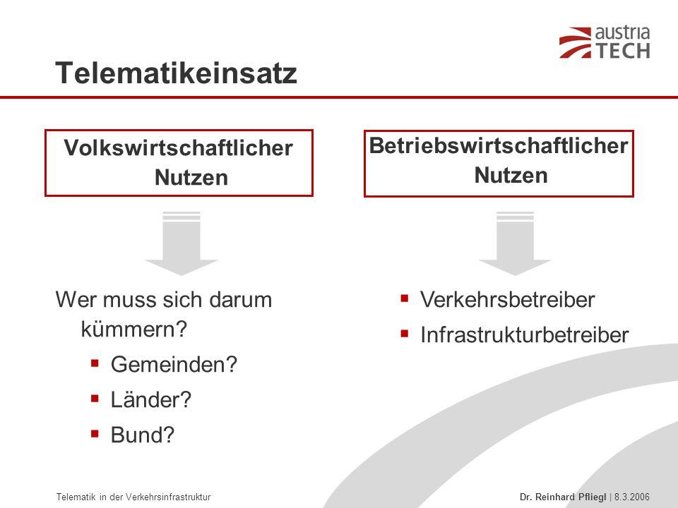 Telematik in der Verkehrsinfrastruktur Dr. Reinhard Pfliegl | 8.3.2006 Telematikeinsatz Volkswirtschaftlicher Nutzen Betriebswirtschaftlicher Nutzen W