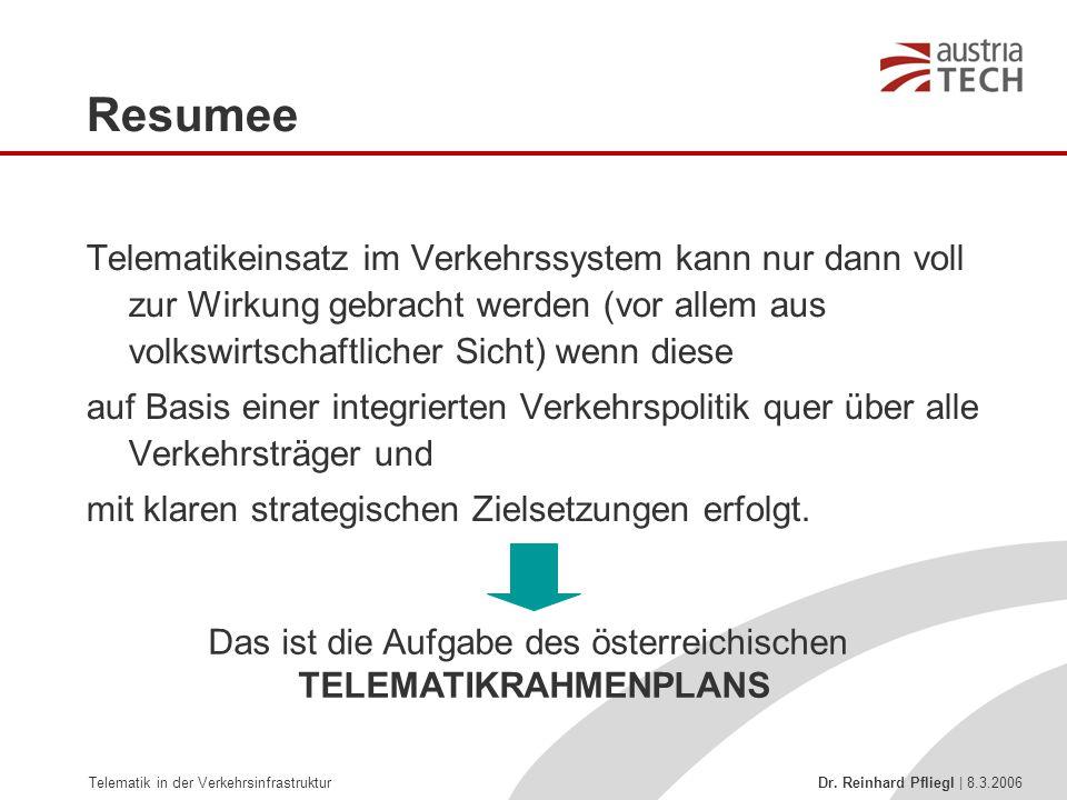 Telematik in der Verkehrsinfrastruktur Dr. Reinhard Pfliegl | 8.3.2006 Resumee Telematikeinsatz im Verkehrssystem kann nur dann voll zur Wirkung gebra