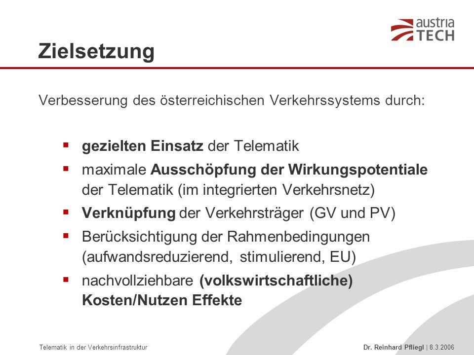 Telematik in der Verkehrsinfrastruktur Dr. Reinhard Pfliegl | 8.3.2006 Zielsetzung Verbesserung des österreichischen Verkehrssystems durch:  gezielte