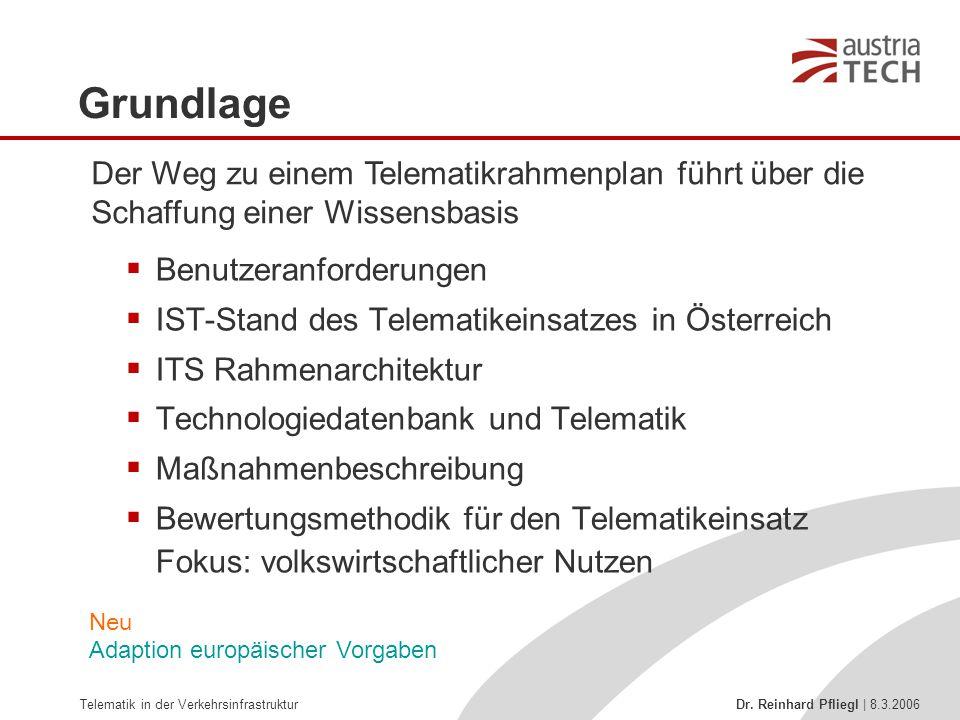 Telematik in der Verkehrsinfrastruktur Dr. Reinhard Pfliegl | 8.3.2006 Grundlage  Benutzeranforderungen  IST-Stand des Telematikeinsatzes in Österre