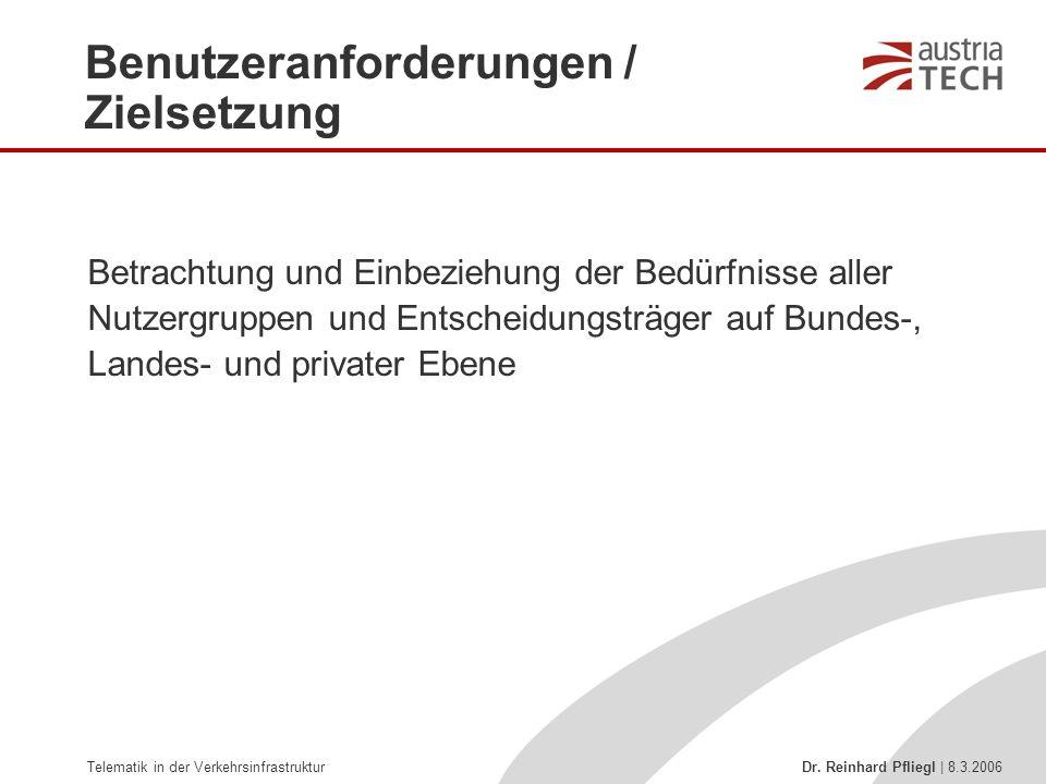Telematik in der Verkehrsinfrastruktur Dr. Reinhard Pfliegl | 8.3.2006 Betrachtung und Einbeziehung der Bedürfnisse aller Nutzergruppen und Entscheidu
