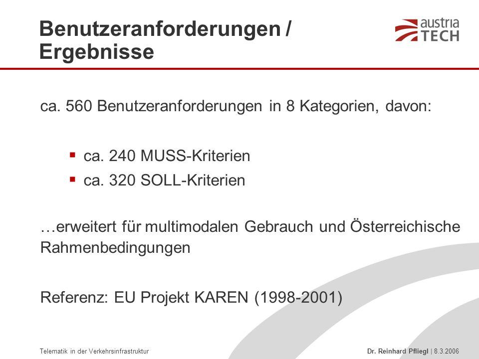 Telematik in der Verkehrsinfrastruktur Dr. Reinhard Pfliegl | 8.3.2006 ca. 560 Benutzeranforderungen in 8 Kategorien, davon:  ca. 240 MUSS-Kriterien