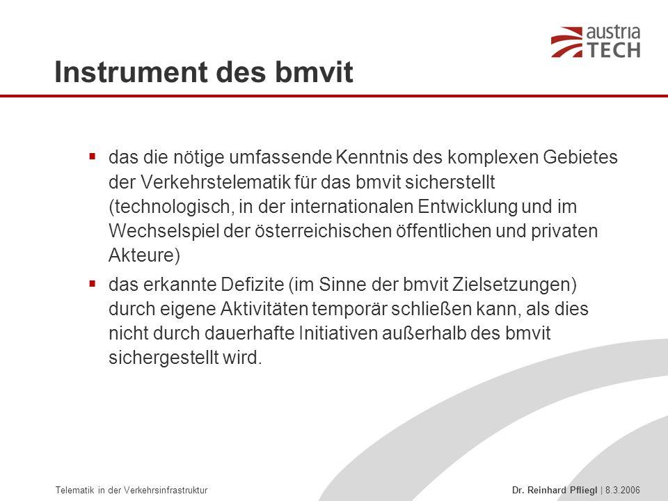 Telematik in der Verkehrsinfrastruktur Dr. Reinhard Pfliegl | 8.3.2006 Instrument des bmvit  das die nötige umfassende Kenntnis des komplexen Gebiete